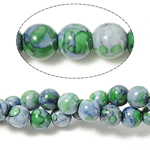 Regen Blumen Stein Perlen, rund, 12mm, Bohrung:ca. 1.2mm, Länge:ca. 15 ZollInch, 5SträngeStrang/Menge, ca. 32PCs/Strang, verkauft von Menge