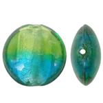 Petë Silver Beads Lampwork, Round Flat, petë argjendi, dy-ton, 20x10mm, : 2mm, 100PC/Qese,  Qese