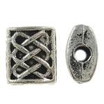 Beads aliazh zink Flat, Alloy zink, Drejtkëndësh, Ngjyra antike argjendi praruar, asnjë, , nikel çojë \x26amp; kadmium falas, 6x7x3mm, : 0.5mm, 2000PC/KG,  KG