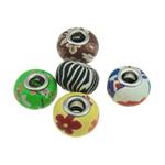European Beads bizhuteri Polimer balta, Polymer Clay, Rondelle, Ngjyra argjend praruar, core argjendi i pastër me dy pa karrem, ngjyra të përziera, 15x10mm, : 5mm, 100PC/Qese,  Qese