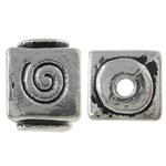 Beads bizhuteri Alloy zink, Kub, Ngjyra antike argjendi praruar, asnjë, , nikel çojë \x26amp; kadmium falas, 6.50x8.50mm, : 1mm, 588PC/KG,  KG