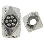 Beads bizhuteri Alloy zink, Oval, Ngjyra antike argjendi praruar, asnjë, , nikel çojë \x26amp; kadmium falas, 4x7mm, : 2mm, 2000PC/KG,  KG