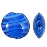 Inner Beads Lampwork Twist, Round Flat, 20x10mm, : 2mm, 100PC/Qese,  Qese