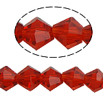 Bicone Beads Crystal, Kristal, asnjë, faceted, Siam, 6x6mm, : 0.8-1.2mm, :10.5Inç, 10Fillesat/Qese,  Qese