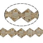Doppelkegel Kristallperlen, Kristall, facettierte, Silber Champagner, 8x8mm, Bohrung:ca. 1.5mm, Länge:10.5 ZollInch, 10SträngeStrang/Tasche, verkauft von Tasche