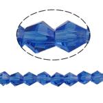 Doppelkegel Kristallperlen, Kristall, facettierte, saphirblau, 6x6mm, Bohrung:ca. 1mm, Länge:ca. 11.5 ZollInch, 10SträngeStrang/Tasche, ca. 50PCs/Strang, verkauft von Tasche