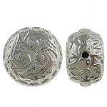 Verkupfertes Kunststoff-Perlen, Verkupferter Kunststoff, Münze, Platinfarbe platiniert, frei von Nickel, Blei & Kadmium, 24x16mm, Bohrung:ca. 2.5mm, 5Taschen/Menge, 100/Tasche, verkauft von Menge