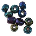 Regenbogen Glas-Rocailles, rund, 1.90x2.20mm, Bohrung:ca. 0.3mm, ca. 15000PCs/Tasche, verkauft von Tasche