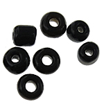 Volltonfarbe Glas Rocailles, Glas-Rocailles, schwarz, 1.90x2.20mm, Bohrung:ca. 0.3mm, ca. 15000PCs/Tasche, verkauft von Tasche