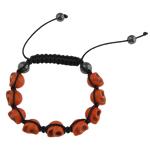 Türkis Woven Ball Armbänder, Natürliche Türkis, mit Wachsschnur & Non- magnetische Hämatit, Schädel, keine, 9x12x11mm, verkauft per 7.5 ZollInch Strang