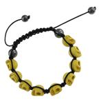Shamballa Bracelets gur i çmuar, Bruz Natyrore, with Cord Wax & Jo-magnetike kuqe e mbylltë, Kafkë, 9x12x11mm, :7.5Inç,  7.5Inç,