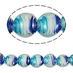 Inner Beads Lampwork Twist, Round Flat, 20x10mm, : 2mm, :14.5Inç, 5Fillesat/Qese,  Qese