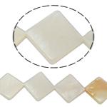 Beads Natyrore White Shell, Romb, asnjë, e bardhë, 20x4mm, : 2mm, :15Inç,  15Inç,