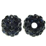 Strass Ton befestigte Perlen, rund, mit 50 Stück Strass & mit Strass von Klasse A, Montana, 6mm, Bohrung:ca. 1.5mm, 10PCs/Tasche, verkauft von Tasche