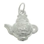 925 Sterling Silver varëse, Ibrik çaji, argjend praruar vërtetë, asnjë, 12.80x13.40x5.90mm, : 4mm, 3PC/Qese,  Qese