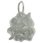 925 Sterling Silver varëse, Peshk, argjend praruar vërtetë, asnjë, 9.60x11.80x5.20mm, : 4mm, 3PC/Qese,  Qese