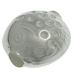 925 Sterling Silver Beads, Peshk, argjend praruar vërtetë, 12.40x12.50x7.80mm, : 3.2mm, 5PC/Qese,  Qese