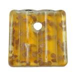 Rërë Pendants Gold Lampwork, 39x39x8mm, : 7mm, 12PC/Kuti,  Kuti
