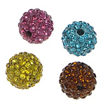 Tschechische Strass Perlen, Lehm pflastern, rund, mit 83 Stück Strass & mit tschechischem Strass, gemischte Farben, 10mm, Bohrung:ca. 2mm, 10PCs/Tasche, verkauft von Tasche
