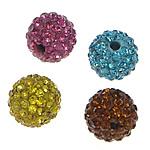 Tschechische Strass Perlen, Lehm pflastern, rund, mit 41 Stück Strass & mit tschechischem Strass & halbgebohrt, gemischte Farben, 6mm, Bohrung:ca. 1mm, 10PCs/Tasche, verkauft von Tasche