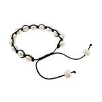 Ujërave të ëmbla Pearl Shamballa Bracelets, Pearl kulturuar ujërave të ëmbla, with Cord najlon, Shape Tjera, punuar me dorë, e bardhë, 8x10mm, :7.5Inç,  7.5Inç,