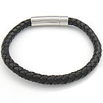 Rindsleder Armband, Kuhhaut, Edelstahl Verschluss, schwarz, 6.5mm, 30.5x8mm, verkauft per ca. 8.5 ZollInch Strang