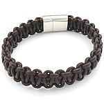 Rindsleder Armband, Kuhhaut, Edelstahl Magnetverschluss, braun, 13mm, 20x14mm, verkauft per ca. 8.5 ZollInch Strang