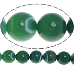 Natürliche grüne Achat Perlen, Grüner Achat, rund, Streifen, 8mm, Bohrung:ca. 0.8-1mm, Länge:ca. 15.5 ZollInch, 5SträngeStrang/Menge, verkauft von Menge