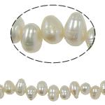 Barock kultivierten Süßwassersee Perlen, Natürliche kultivierte Süßwasserperlen, weiß, 5-6mm, Bohrung:ca. 0.8mm, verkauft per 14.5 ZollInch Strang