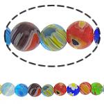 Millefiori Glass Beads, Round, ngjyra të përziera, 6mm, :15Inç, 10Fillesat/Shumë,  Shumë
