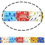 Millefiori Glass Beads, Drejtkëndësh, ngjyra të përziera, 12x10x3.50mm, :15Inç, 10Fillesat/Shumë,  Shumë