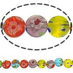 Millefiori Glass Beads, Round Flat, ngjyra të përziera, 8x8x3mm, :14.5Inç, 10Fillesat/Shumë,  Shumë