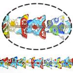 Millefiori Glass Beads, Kafshë, ngjyra të përziera, 11x9x3mm, :16Inç,  Shumë