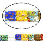 Millefiori Glass Beads, Drejtkëndësh, ngjyra të përziera, 14x14x4mm, :16Inç, 10Fillesat/Shumë,  Shumë