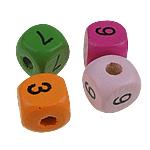 Beads druri, Kub, i lyer, ngjyra të përziera, 10mm, : 3mm, 100PC/Qese,  Qese