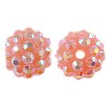 Beads diamant i rremë Rrëshirë, Rrëshirë diamant i rremë, Round, asnjë, me diamant i rremë, 12x14mm, : 2mm, 100PC/Qese,  Qese