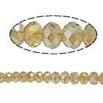 Rondelle Beads Crystal, Kristal, imitim kristal Swarovski, Lt Topaz, 8x10mm, : 2mm, :22Inç, 10Fillesat/Qese,  Qese