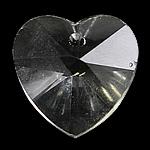 Crystal Pendants, Kristal, Zemër, Kristal, 18x18x8mm, : 1mm, 10PC/Qese,  Qese