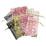 Drawstring çanta bizhuteri, Organza, shtypje, i tejdukshëm, ngjyra të përziera, 70x90mm, 100PC/Qese,  Qese