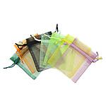 Drawstring çanta bizhuteri, Organza, i tejdukshëm, ngjyra të përziera, 100x140mm, 100PC/Qese,  Qese