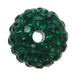 Strass Schmuckperlen, Harz, rund, mit Strass, grün, 10x10mm, Bohrung:ca. 2mm, 10PCs/Tasche, verkauft von Tasche