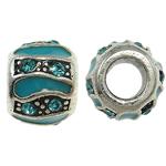 Zink Legierung Europa Perlen, Zinklegierung, Rondell, ohne troll & Emaille & mit Strass, frei von Nickel, Blei & Kadmium, 10x8mm, Bohrung:ca. 5mm, 10PCs/Tasche, verkauft von Tasche