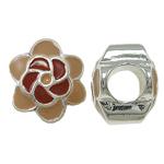 Zink Legierung Europa Perlen, Zinklegierung, mit Emaille, Blume, ohne troll, frei von Nickel, Blei & Kadmium, 10.50x12x9mm, Bohrung:ca. 5mm, 10PCs/Tasche, verkauft von Tasche