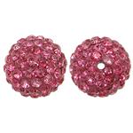 Harz Perlen Strass, rund, mit Strass, Rosa, 12x12mm, Bohrung:ca. 1mm, 10PCs/Tasche, verkauft von Tasche