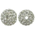 Harz Perlen Strass, rund, mit Strass, Kristall, 10x10mm, Bohrung:ca. 2mm, 10PCs/Tasche, verkauft von Tasche