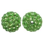 Harz Perlen Strass, rund, mit Strass, grasgrün, 10x10mm, Bohrung:ca. 2mm, 10PCs/Tasche, verkauft von Tasche