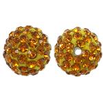 Rrëshirë Beads diamant i rremë, Round, asnjë, me diamant i rremë, Topaz, 10x10mm, : 1.5mm, 10PC/Qese,  Qese
