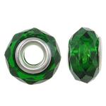 European Beads Crystal, Kristal, Rondelle, core argjendi i pastër me dy pa karrem, Gjelbër fier, 14x8mm, : 5mm, 20PC/Qese,  Qese