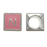 Beads European aliazh zink, Alloy zink, Katror, asnjë, pa karrem & smalt, rozë, , nikel çojë \x26amp; kadmium falas, 7x7mm, : 5mm, 10PC/Qese,  Qese