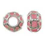 Beads European aliazh zink, Alloy zink, Rondelle, asnjë, pa karrem & smalt, rozë, , nikel çojë \x26amp; kadmium falas, 11x7mm, : 5mm, 10PC/Qese,  Qese